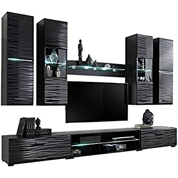 cb3917c39a81 MEBLE FURNITURE   RUGS Modern 4 Entertainment Center Wall Unit with LED  Lights 50 Inch TV Stand