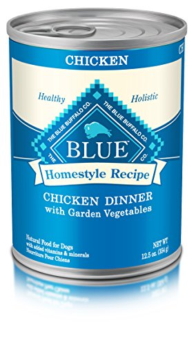 Blue Buffalo Homestyle Recipe Natural Adult Wet Dog Food, Chicken Dinner, 12.5oz (Pack of 12) (Best Canned Dog Food For Senior Dogs)