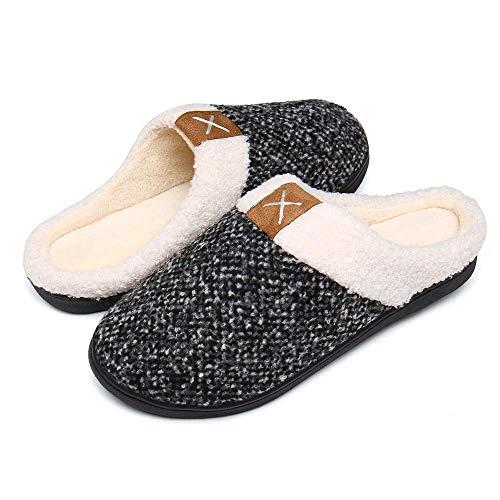 Bocianelli Womens Cozy Memory Foam Slippers Fuzzy Wool-Like Plush Fleece Lined House Shoes w/Indoor (7-8,Black and White)