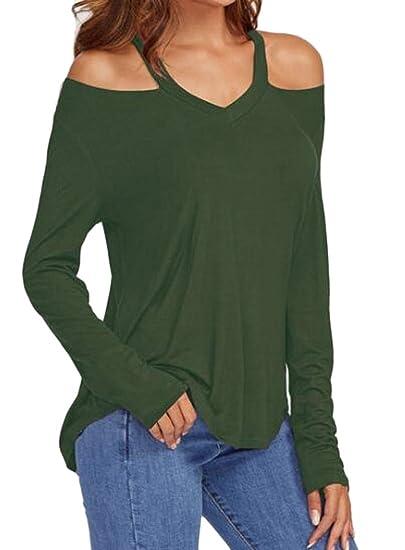 5bc0e397dcfa9 CRYYU Womens Sexy Long Sleeve Cold Shoulder Top Halter Solid T-Shirts  Armygreen US XS