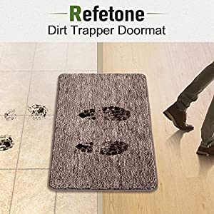 "Indoor Doormat Front Door Mat Non Slip Rubber Backing Super Absorbent Mud and Snow Magic Dirts Trapper Mats Entrance Door Rug Shoes Mat Machine Washable Carpet - Coffee, 20"" x 31.5"""