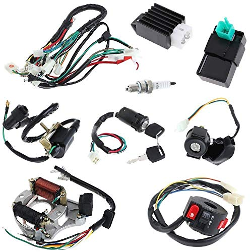 Full Electrics Coil CDI Wiring Harness Loom kit CDI Coil Magneto Kick Start Engine for 50cc 70cc 90cc 110cc 125cc ATV Quad Bike Buggy Go Kart Pit Dirt Bikes: