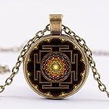 AmberRoze Sri Yantra Mandala Glass Dome Pendant Necklace For Women