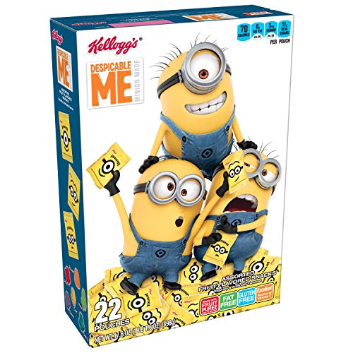 Kellogg's Fruity Snacks, Despicable Me, Assorted Fruit Flavored Snacks, Minion Made, Gluten Free, Fat Free, 17.6oz (22 Pouches) -