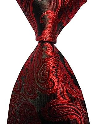 New Red Paisley Jacquard Woven Men's Tie Necktie
