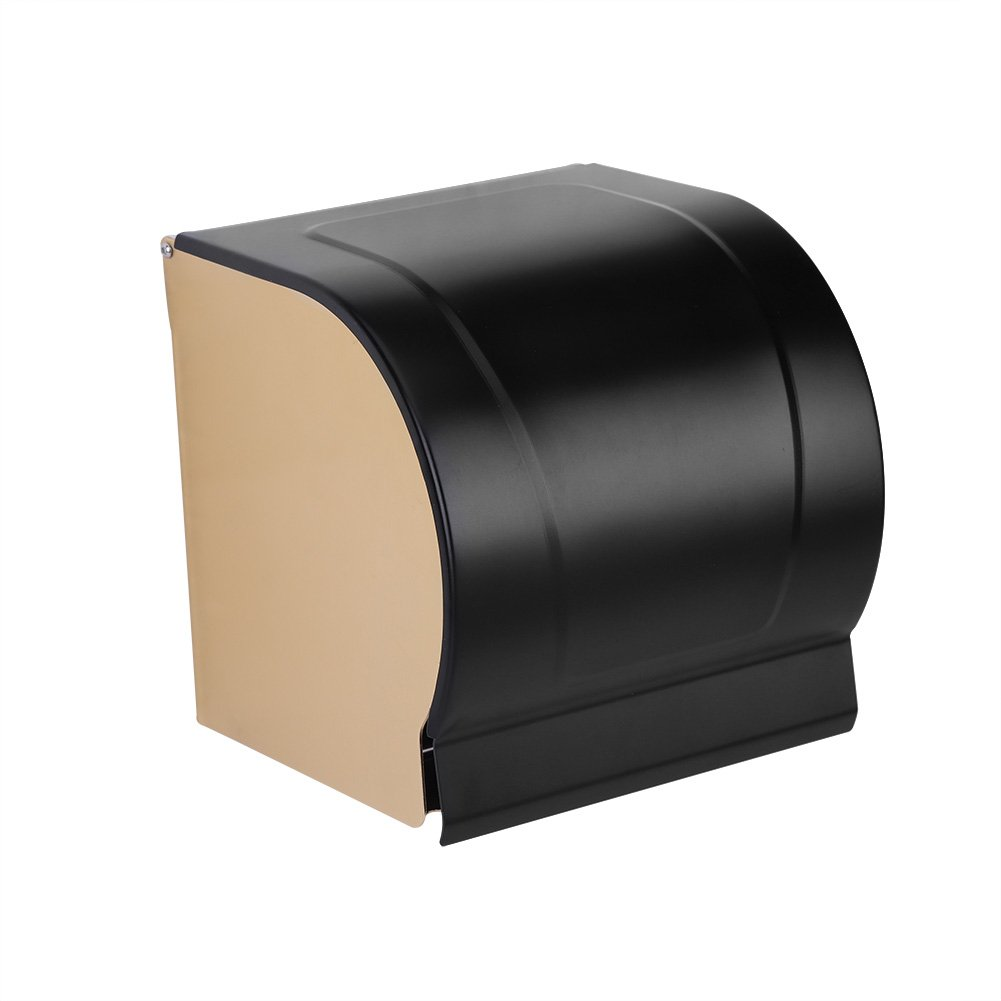 Zerodis Wall Mounted Waterproof Toilet Roll Paper Holder Space Aluminum WC Roll Tissue Box Bathroom Accessory with Mobile Phone Holder