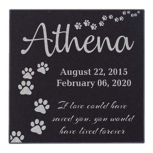CustomizationMill Personalized Pet Memorial Stone - Dog Grave Marker   Garden Stones Loss of Dogs (6x6, If Love Could Have Saved You)