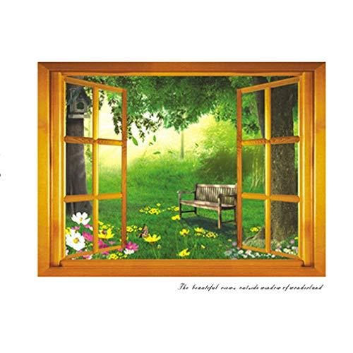 Wall Sticker 3D False Window Retro Windowsill Green Leaves Flowers Chair Paper Home Decal Removable Wall Vinyl Living Room Bedroom Waterproof DIY Sticker ()