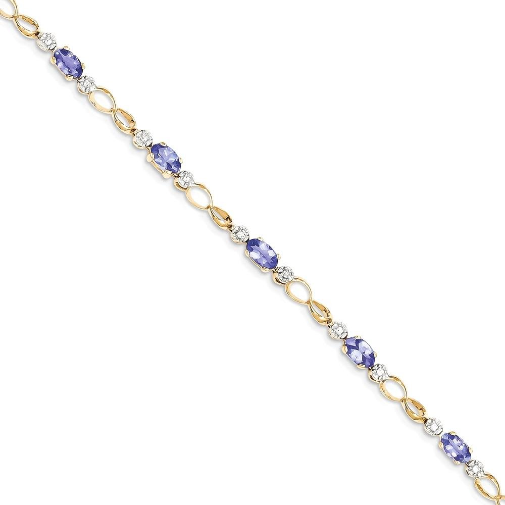 ICE CARATS 14k Yellow Gold Link Diamond/tanzanite Bracelet 7 Inch Gemstone Fine Jewelry Gift Set For Women Heart