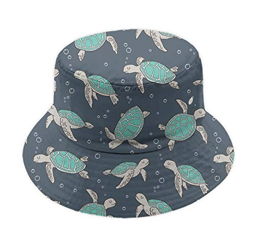 (Unisex Adult Wide Brim Fishermen Hat Sun Hat for Outdoor Sports Camping Travel, Sea Turtles Green Packable Reversible Boonie Hat Essential Dad Hat Breathable Caps)
