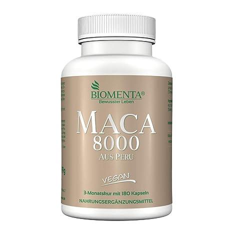 biomenta MACA 8000 Puro Maca Extracto 10: 1 180 maca-kapseln 2 meses de