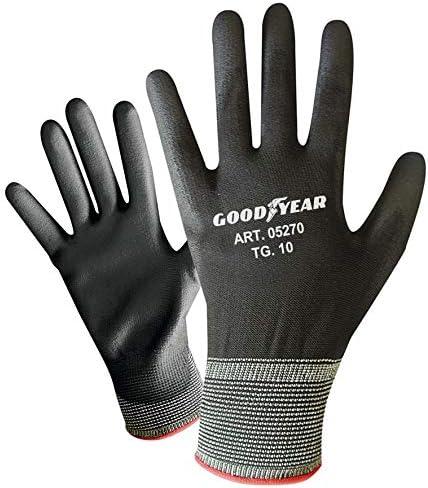 Confezione da 12 guanti da giardinaggio a filo continuo elasticizzato Goodyear con palmo ricoperto in PU e dorso aerato taglia S