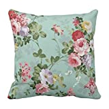 Yaya Cafe Printed Vintage Floral Flower Throw Cushions Pillow Covers 16X16 Inches For Home Decor Sofa Chair Bedroom Living Room - Set Of 1
