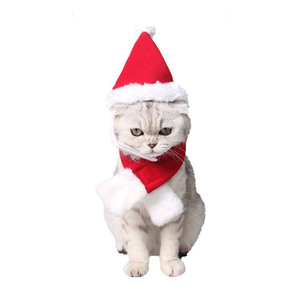 M Adorable Cat Dog Costumes Adjustable Santa Hat and Scarf Muffle Suit Cute Cat Clothes New Year Christmas Costumes for Puppy Kitten Small Dogs and Cats Holiday Accessory