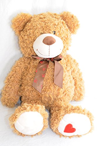 "Large Jumbo 19"" Tan Brown Valentine's Day Heart Teddy Bear Plush Soft Stuffed Doll Toy"