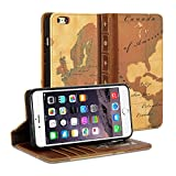 iPhone 6 Plus (5.5 Display) Case, GMYLE Book Case Vintage for iPhone 6 Plus (5.5 Display) - World Map Pattern PU Leather Stand Case Cover
