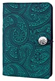 Genuine Leather Refillable Large Notebook Cover for 5.25 x 8.25 Inch Notebooks | Tooled Paisley Design, Teal with Pewter Button | Made in the USA by Oberon Design