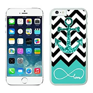 Iphone 6 Plus Case 5.5 Inches, Nice White Hard Phone Cover Case for Apple Iphone 6 Plus Infinite Love Teal Glitter Anchor