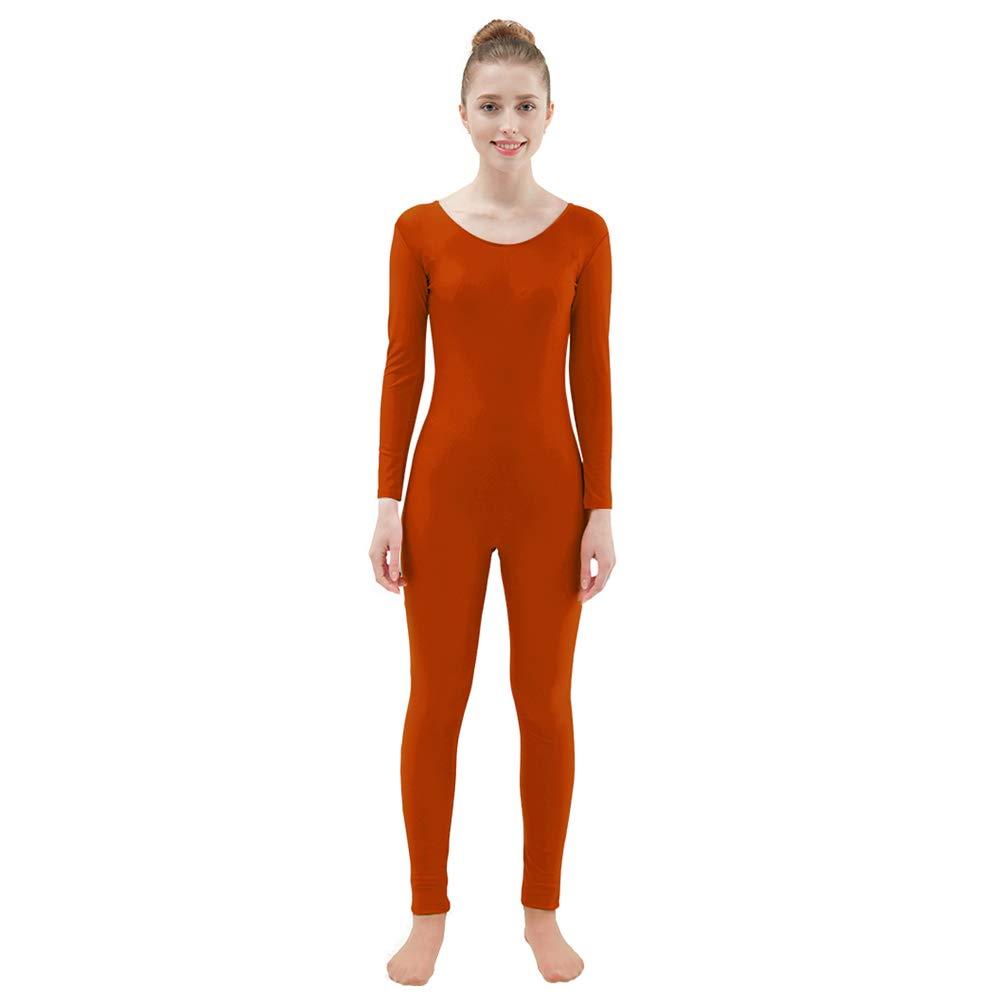 Ensnovo Womens Spandex Bodysuit Long Sleeve Scoop Neckline Footless Unitard Coffee,L by Ensnovo