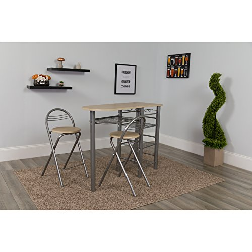 Flash Furniture Carnegie 3 Piece Space-Saver Natural Finish Bistro Set with Wine Rack, Shelving and Folding Chairs by Flash Furniture