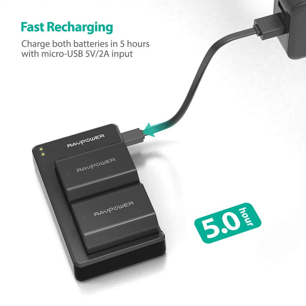 Bateria RAVPower NP-FZ100 2 Pack 2000mAh Bater/ías de Repuesto y Doble Cargador USB Compatible con Sony A9 A9R A9S Alpha9 9R 9S A7 III A7RIII A7R3 C/ámara Digital