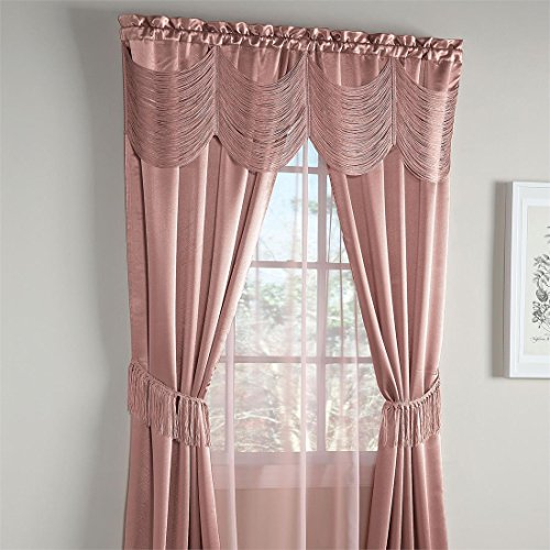 Brylanehome Halley 6-Pc. One-Rod Curtain Set (Mauve,56″ W 84″ L)