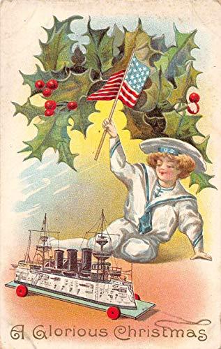 Christmas Greetings Boy with Toy Battleship Patriotic Vintage Postcard JA4741585
