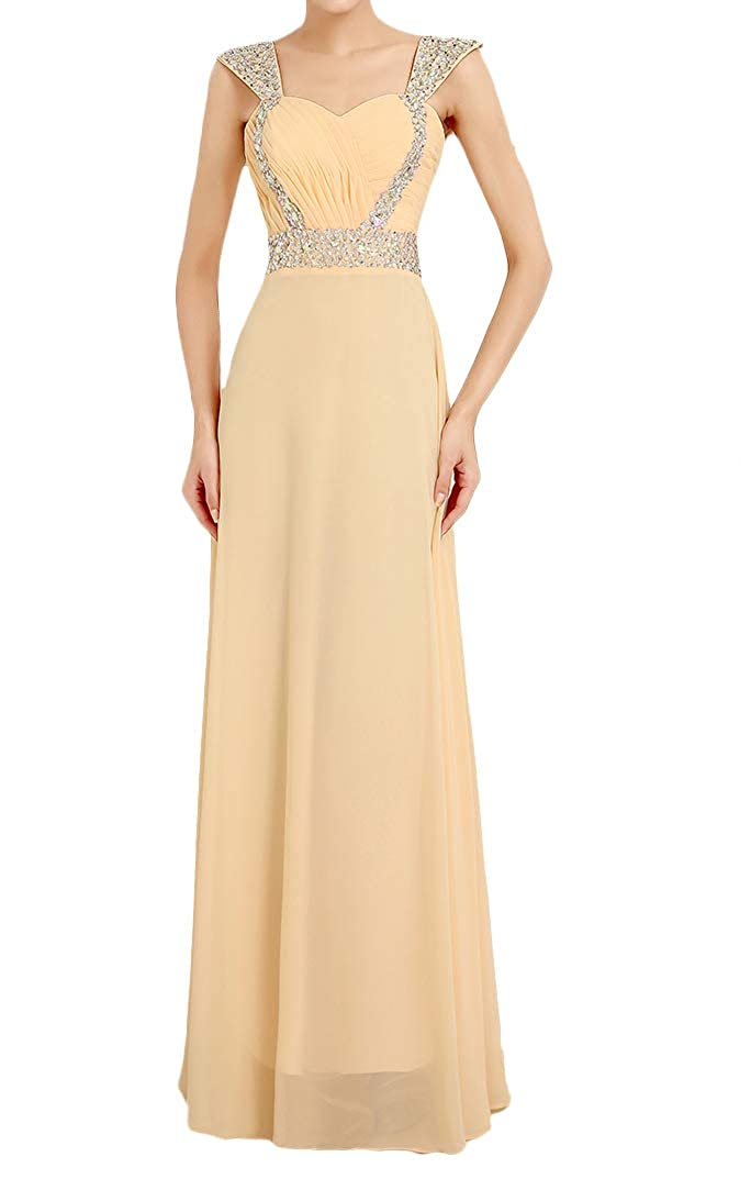 Champagne Baixia Womens Straps Wedding Party Long Prom Evening Bridesmaid Dresses Gowns