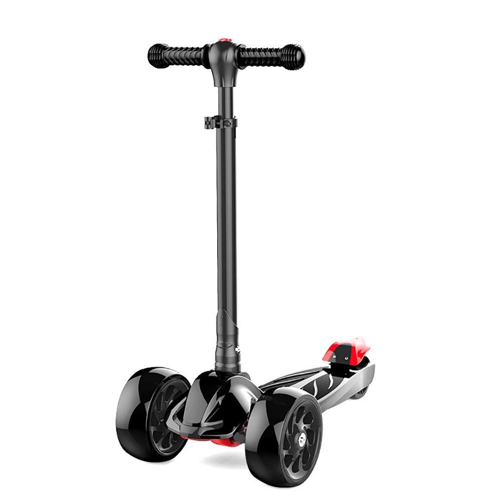 キックボード本体 幼児のための折りたたみスクーター、調節可能なハンドルバー&ライト付きPUホイール付きショック吸収キックスクーター、容量220ポンド、子供のための最高の贈り物 (色 : ベージュ) B07MXFY7D4 黒 黒