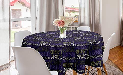ABAKUHAUS Oakland Mantel Redondo, Repitiendo Moderna Letras, con Estampa Digital Decorativa para Comedor o Sala de Estar, 150 cm, Purpura Oscura de Color C