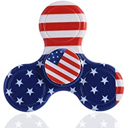 Infinal Colorful Hand Spinner toy Premium Steel Bearing High Speed UV Printing EDC Fidget Hand Toy Camo (American flag)