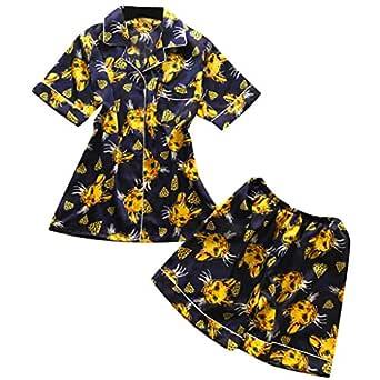 Bibao pijama de satén de seda con estampado de girasoles ...