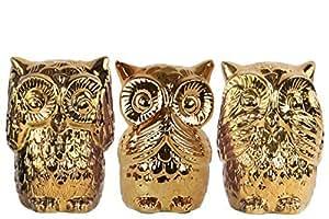 Urban trends ceramic owl no evil see speak hear figurine with polished chrome - Hear no evil owls ceramic ...
