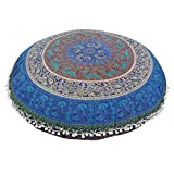 ASO-SLING Indian Large Mandala Floor Pillowcase Round Bohemian Meditation Cushion Case Pouf Bohemian Floor Pillows Case 8080CM