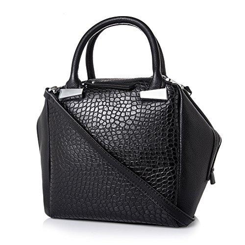 Women Handbag,Women Bag, KINGH Vintage PU Leather Bag Fashion Lozenge Design Handbag 254 Black