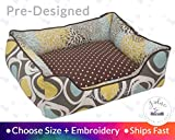 Classic Brown Dog Bed Pet Bed Cat Bed Personalize Embroidery Flowers Blooms Transitional