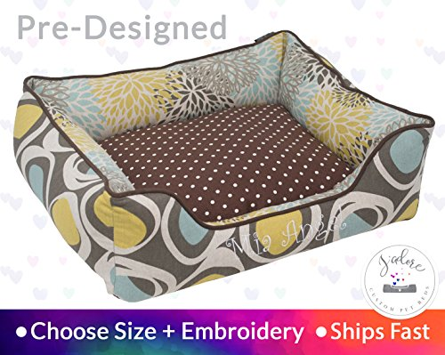 Classic Brown Dog Bed Pet Bed Cat Bed Personalize Embroidery Flowers Blooms Transitional by J'adore Custom Pet Beds