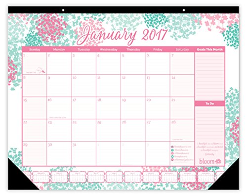 "bloom daily planners 2017 Calendar Year Desk Calendar - Cute Pink and Green 16"" x 21"" Desk or Wall Calendar with FREE Vision Board! 2017 Calendar Year Desk Pad: January 2017 to December 2017 - Bloom"
