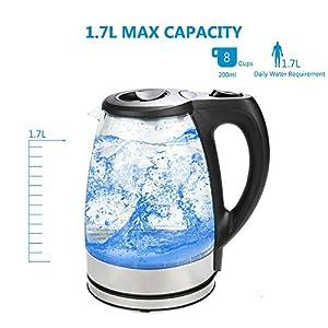 MeyKey Glass Electric Kettle 1.7L Fast Water Kettle Premium Cordless Tea Kettle (kettle)