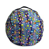 Kerocy Stuffed Animal Bean Bag Chairs Large Size Cotton Canvas Children's Plush Toy Storage (Fish)