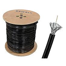 RG59 Bulk Cable, CCS, Black, 95% Braid, Dual Shielding, 1000ft Spool