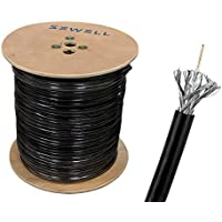 Sewell Direct SW-30082 RG59 Bulk Cable, CCS, Black, 95% Braid, Dual Shielding, 1000 Spool