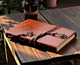 Valery Classic Leather Notebook Retro Vintage Diary &Refillable Journal Medium Size for Men/Women Daily Use Gift-Blank & Lined Loose Leaf Pages- Mediterranean & Middle Ages Style Sailor Design-Brown