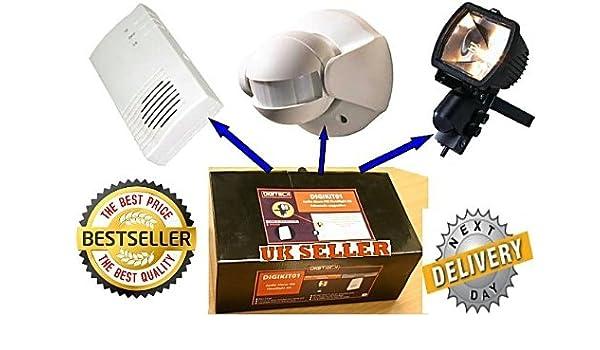W8a - 500 W receptor transmisor de movimiento foco con SENSOR de movimiento y alarma timbre inalámbrico de la unidad: Amazon.es: Bricolaje y herramientas