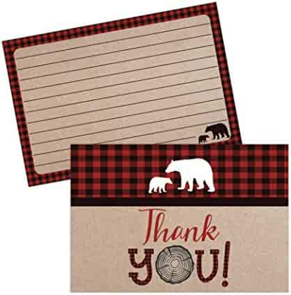 Lumberjack Baby Shower Thank You Cards, Boy Baby, Mama Bear Baby Shower Favor, Woodland Baby Shower, 20 Thank You Cards and Envelopes