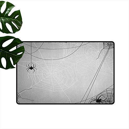 """Anzhutwelve Spider Web,Printed Floor Mats Spiders Hanging from Webs Halloween Inspired Design Dangerous Cartoon Icon 18""""x30"""",Home Decoration Door Mat"""