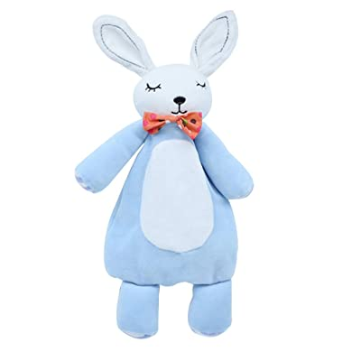 NUOBESTY Baby Plush Toys Stroller Stuffed Animal Rabbit Plush Doll Teething Towel for Baby Infants Sleeping (Blue): Office Products