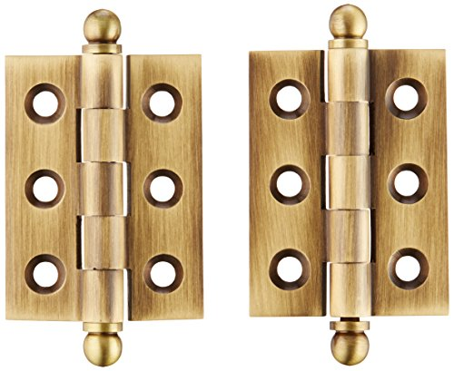 Deltana CH2015U5 Solid Brass 2-Inch x 1-1/2-Inch Cabinet Hinge with Ball Tips
