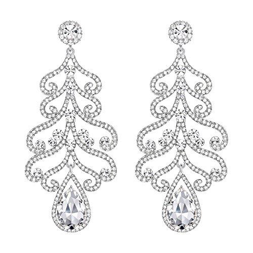 BriLove Women's Wedding Bridal Crystal Love Heart Scroll Teardrop Chandelier Dangle Earrings Clear Silver-Tone ()