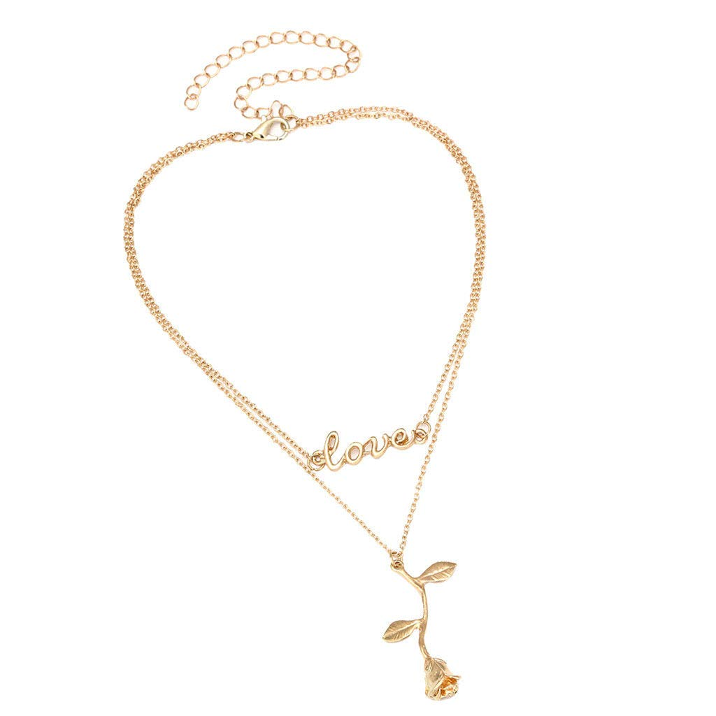 Simple Double Layers Choker Chain Necklace Rose Love Pendant Jewelry